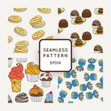 Set of Vector Candy, Bows and Muffins Seamless Patterns. Sweet Party Texture. Stock Photography