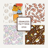 Set of Vector Candy, Bows and Muffins Seamless Patterns. Sweet Party Texture. Stock Image