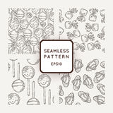Set of Vector Candy, Bows and Muffins Seamless Patterns. Sweet Party Texture. Stock Images