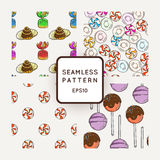 Set of Vector Candy, Bows and Muffins Seamless Patterns. Sweet Party Texture. Royalty Free Stock Photos
