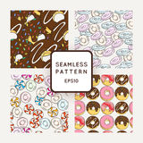 Set of Vector Candy, Bows and Muffins Seamless Patterns. Sweet Party Texture. Stock Photos