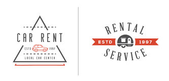 Set of Vector Car Rental Service Elements can be used as Logo or Stock Images
