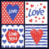 Set of vector card template. Heart, hand drawn word love, seamle Royalty Free Stock Photos