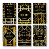 Set of vector card templates in art deco style. Stock Images