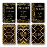 Set of vector card templates in art deco style. Royalty Free Stock Photo