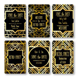 Set of vector card templates in art deco style. Royalty Free Stock Image