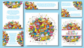Set vector card templates with birthday party hand draw doodles background Royalty Free Stock Images
