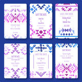 Set of vector card templates in ethnic style. Stock Image