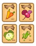Vegetables card set. Set of vector card templates of healthy food stuffs vegetables on vertical vintage carrot, beetroot tags. carrots, patisson, peas Stock Image