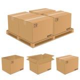 Set of vector cardboard boxes royalty free illustration