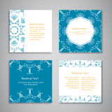 Set of vector cards with aztec ornament and frames. Template for menu, gift card or packing. Blue and orange colors. Stock Photo