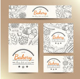Set of vector cards with bakery products. Vector illustration for your design Stock Images