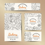Set of vector cards with bakery products. Vector illustration for your design Stock Photography