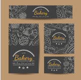 Set of vector cards with bakery products. Vector illustration for your design Royalty Free Stock Image