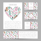 Set of vector cards with cosmetics ornament. Royalty Free Stock Photos