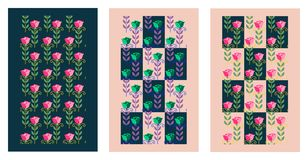 Set of vector cards with flowers. Stylized roses. Royalty Free Stock Photos