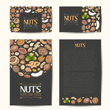 Set of vector cards with nuts and seeds Royalty Free Stock Images