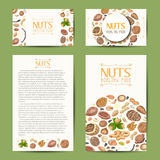 Set of vector cards with nuts and seeds Royalty Free Stock Photo