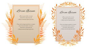 Set of vector cards with place for your text. The letter of thanks. Invitation with autumn leaves and herbs Royalty Free Stock Images