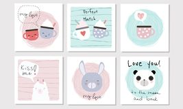 Set of 6 vector cards in Valentine Day theme with animals, cups. And lettering. Perfect for greeting cards, postcards, tags, etc stock illustration