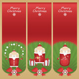 Set vector cartoon banners with flat icons Santa Claus with snowballs, candy sticks, glass of milk, cookie, presents and red sack Stock Images