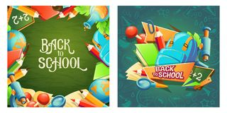 Set of vector cartoon banners with school accessories and inscription Back to school. Stock Photo