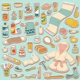 Set of vector cartoon bathroom elements Royalty Free Stock Images