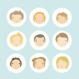 Set of 9 vector cartoon boys faces. Vector EPS 10 hand drawn illustration Stock Photo