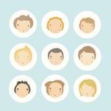 Set of 9 vector cartoon boys faces. Vector EPS 10 hand drawn illustration royalty free illustration