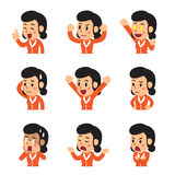 Set of vector cartoon businesswoman faces showing different emotions. For design Royalty Free Stock Photos