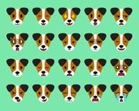 Set of vector cartoon character jack russell terrier dog faces showing different emotions. For design Royalty Free Stock Photography