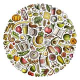Set of vector cartoon doodle Diet food objects collected in a circle Stock Image