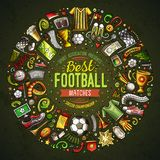 Set of vector cartoon doodle Football objects collected in a round border. Soccer card design Stock Photos