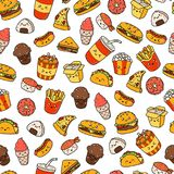 Set of vector cartoon doodle icons junk food. Illustration of comic fast food. Seamless texture, pattern, wallpaper Royalty Free Stock Photos
