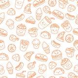 Set of vector cartoon doodle icons junk food. Illustration of comic fast food. Seamless texture, pattern, wallpaper vector illustration