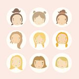Set of 9 vector cartoon girls faces. Vector EPS 10 hand drawn illustration Stock Photos