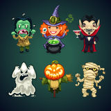 Set of Vector Cartoon Halloween Characters Royalty Free Stock Images