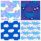 Set of vector cartoon hand drawn clouds seamless patterns royalty free illustration