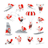 Set of vector cartoon hens and roosters. Cartoon roosters and hens in the sports and fitness. Cute birds on a light background. Fifteen birds in sports in red Stock Photo