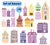 Set of vector cartoon houses. City style Royalty Free Stock Images