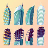Set vector cartoon illustration of an abstract urban large modern buildings, unfinished buildings. Set vector cartoon illustration of an abstract urban large Royalty Free Stock Images