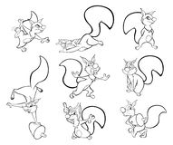 Set of Vector Cartoon Illustration. A Cute Squirrel for you Design. Coloring Book. Outline vector illustration