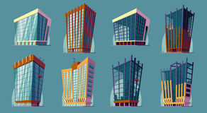 Set vector cartoon illustration of an urban large modern buildings. Stock Photos