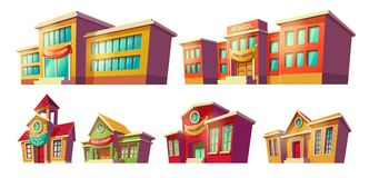 Set of vector cartoon illustrations cartoon of various color old, retro and modern educational institutions, schools. Royalty Free Stock Photos
