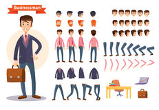 Set of vector cartoon illustrations for creating a character, businessman. Stock Image