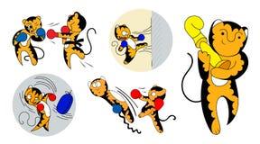 Set of vector cartoon illustrations of a cute young tiger cub martial artist. royalty free illustration
