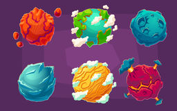 Set of vector cartoon illustrations fantasy alien planets Royalty Free Stock Photo