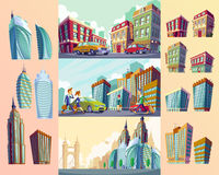 Set vector cartoon illustrations of an old buildings, urban large modern buildings, cars and urban residents. Stock Image