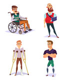 Set of vector cartoon illustrations of people with disabilities isolated on white. Set of vector cartoon illustrations of people with disabilities. Young and Royalty Free Stock Photography