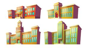 Set of vector cartoon illustrations of various color old, retro educational institutions, schools. Stock Image